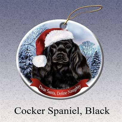 Cocker Spaniel Ornaments (Holiday Pet Gifts Cocker Spaniel Black Santa Hat Dog Porcelain Christmas Tree Ornament)