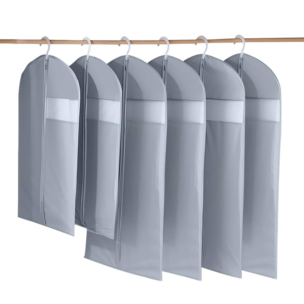 Sanblogan Garment Bag Clothes Dust Guard Protector Suits Bag for Travel Storage Breathable Garment Covers Bag for Suits and Dress with Transparent Window Zippered Dust Covers 6 Pack