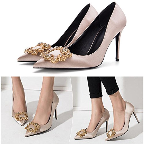 Champagne Peu Bouche Simples F338 Pointu Diamant Profonde Chaussures 4 PU Femme 10cm Couleur Soie Talons Talon Sunny Mariage Amende Faux Hauts La tRSgwOx6tq