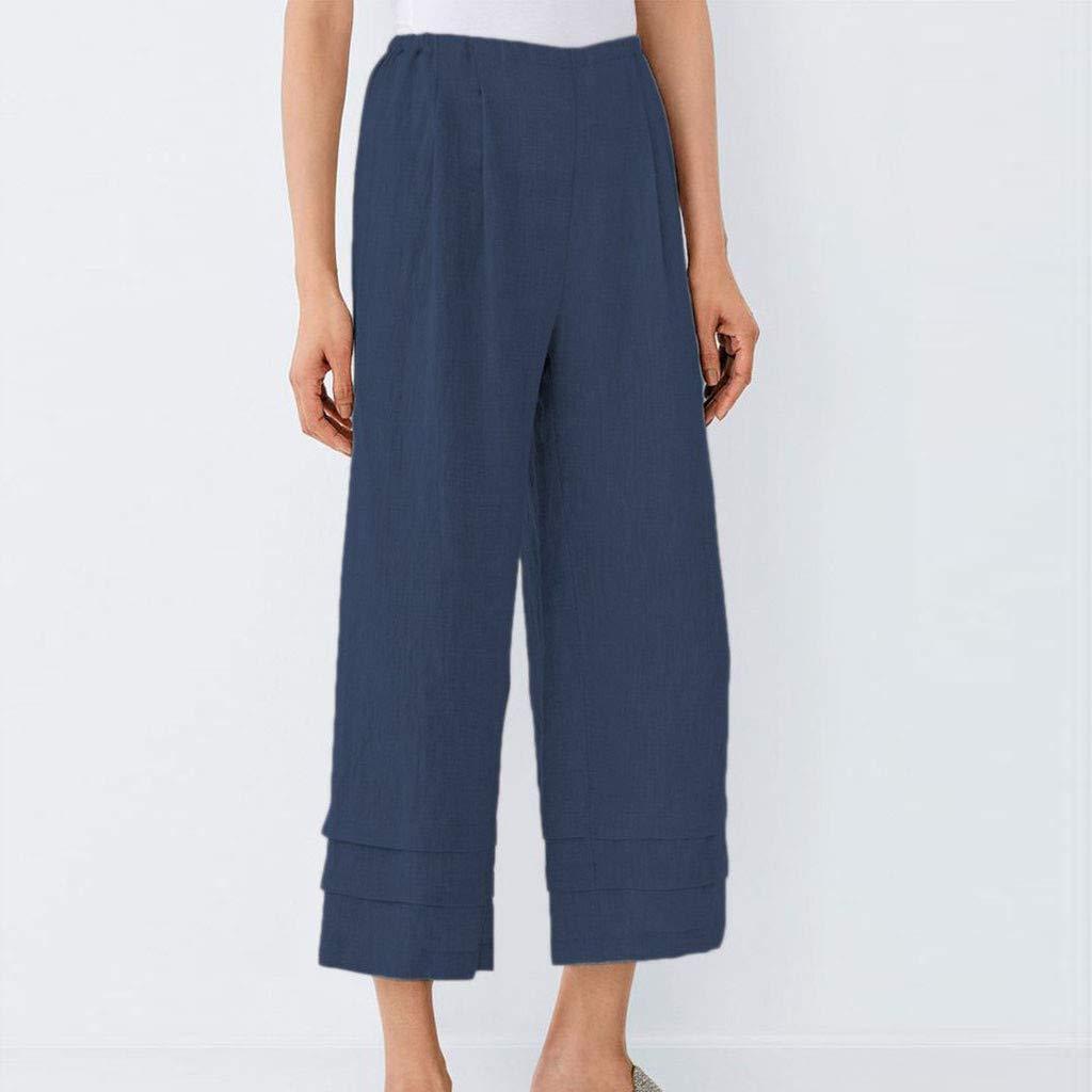 Waiimak - Culottes casuales de lino para mujer, cintura elástica ...