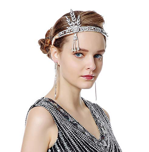 (Radtengle 1920s Flapper Headband Great Gatsby Themed Rhinestone Crystal Pearl Wedding Hair Accessories)