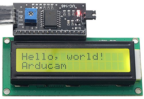 Arducam 1602 16x2 Serial HD44780 Character LCD Board Display with Black on Green Backlight 5V with IIC/I2C Serial Interface Adapter Module for Arduino