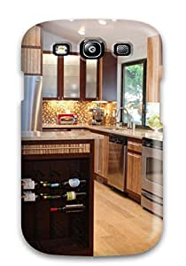 Kara Zahradnik's Shop Hot Hot Fashion Design Case Cover For Galaxy S3 Protective Case (modern Kitchen With Island Wine Rack And Golden Brown Mosaic Backsplash) 3503816K27324903