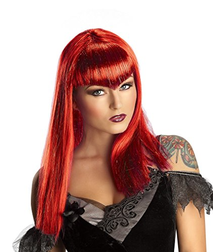 [Red Glitter Vamp Wig Long Bangs Women Adult Costume Accessory Vampiress New] (Red Vampiress Adult Costumes)