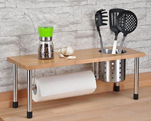 Bambus Küchenregal mit Edelstahlbecher - Spülbeckenregal für mehr Stauraum in der Küche - Standregal Ablage Küchengestell