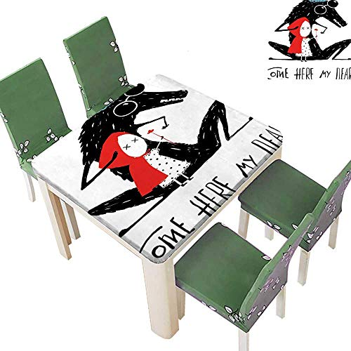 225 & Printsonne Polyester Table Cloth Here My Dear Quote Gr ma Snow White Kids Graphic Teal Red Black Table 23 x 23 Inch (Elastic Edge)