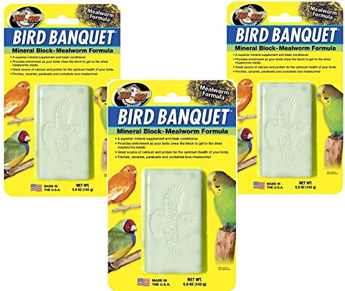 (Zoo Med (3 Pack) Bird Banquet Mineral Block Large, Mealworm Flavor - 5oz Each)