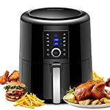 OMORC Multi-Function Electric Air Fryer, 5.8Qt Oil Free Cooker with Rapid Air Circulation Technology for Healthier Food, 7 Cooking Presets - LCD Touch Screen and Knob Control, 1800W (Recipe Book Included, 5.5L Capacity)
