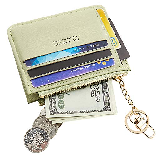 Cyanb Slim Leather Credit Card Case Holder Front Pocket Wallet Change Purse for Women Girls with keychain Pale Green