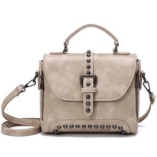 Vincico Women Beige Crossbody Bags Vintage PU Leather Handbags Rivet Purse Mini Tote Shoulder Bag ()