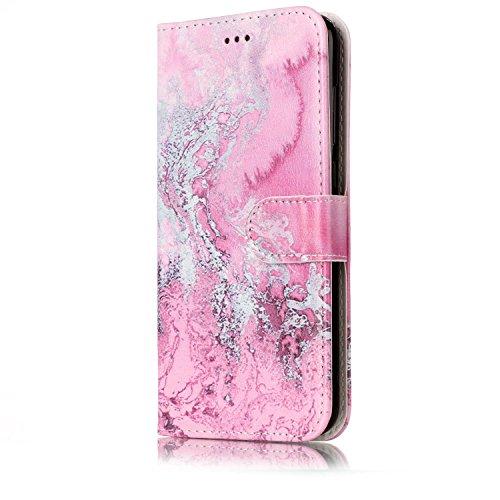 Funda Huawei P8 lite 2017,SainCat Funda de cuero sintético tipo billetera con de Suave PU Carcasa Con Tapa y Cartera, Elegante Estuche Caja,Pintado en relieve árbol Cuero de la PU Leather Cubierta Ple Agua de mar rosa