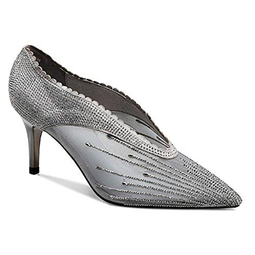 Schuhe UK4 Spitzen Mesh Mesh 2018 Pumps Neue Coole Sommer Openwork Fein größe Hochhackigen Sexy Stiefel EU36 MUMA CN36 Stiefel Netzwerk Mit Frauen zREqX