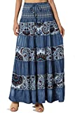 TheMogan Junior's Paisley Print Tiered A-Line High Waist Maxi Skirt Blue ONE Size