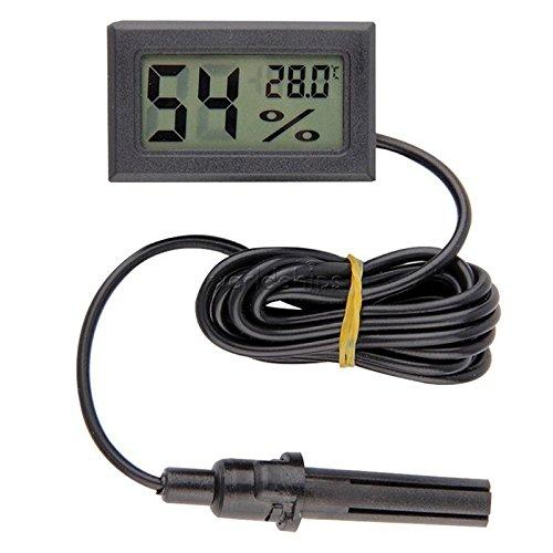 Professional Mini Probe Digital LCD Thermometer Hygrometer Humidity Temperature Meter Indoor Digital LCD Display Black