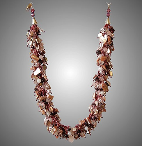 Rose Quartz, Mother of Pearl and Garnet Necklace (Garnet Rose Quartz Necklace)