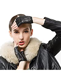 Nappaglo Women's Driving Leather Gloves Half Finger Fingerless Lambskin Leather Fitness Outdoor Shorty Unlined Gloves