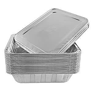 Jetfoil Aluminum Foil Steam Table Pans With Lids   Perfect for Catering, Party Supplies & Suitable for Broiling, Baking, Cakes and Pies - 9 x 13 Half size Deep   Pack of 30