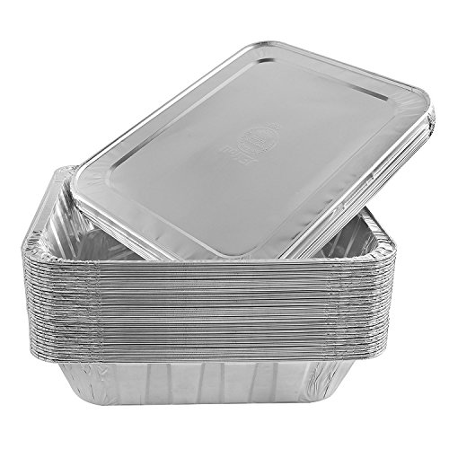 Jetfoil Aluminum Foil Steam Table Pans With Lids | Perfect for Catering, Party Supplies & Suitable for Broiling, Baking, Cakes and Pies - 9 x 13 Half size Deep | Pack of 30
