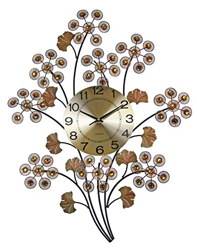 Elegant Bejeweled Branch Wall Clock in Color Bronze with Citrine Color Crystal Accents