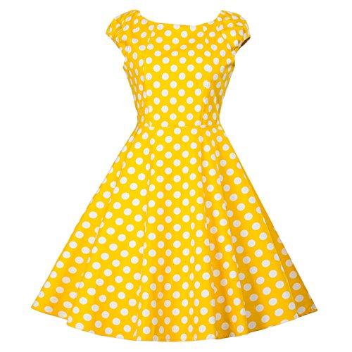 medio medio medio di girocollo cintura Dot Yellow Yellow Yellow Yellow dimensioni donna solido mantello oscillazione di corta colore di Vestiti da manica grandi 6Sw86vq