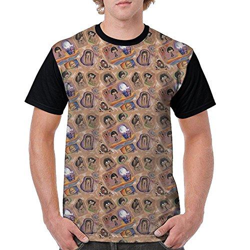 Men Cartoon Explosive Head Curl Novelty Casual Crew Neck Short Sleeve Raglan Baseball Tee Shirt -
