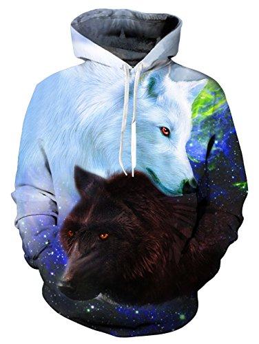 L S Sweatshirt Longues Wolflove Poches Capuche 4 X Star Veste Newi Impression À 3d Manches Unisexe x66Pq4