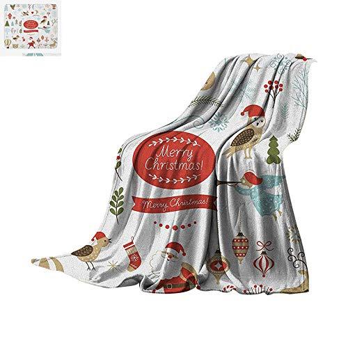 (Christmas Lightweight Blanket Big Set of Christmas Graphic Elements Delicate Gentle Cute Ornate Figures Icons Velvet Plush Throw Blanket 50