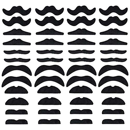 LuckyStar365 48pcs Novelty Fake Mustaches, Mustache Party Supplies, Self Adhesive Mustaches for Masquerade Party & -