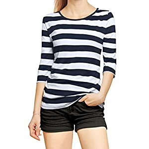 Allegra K Women's Contrast Color Half Length Sleeve Stripes Tops Shirt