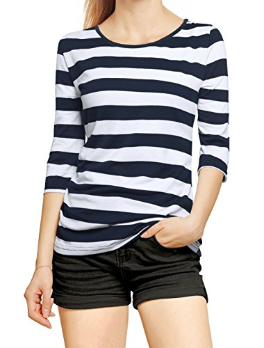 Allegra K Elbow Sleeves Boat Neck Stripe Pattern T-Shirt S Dark Blue White