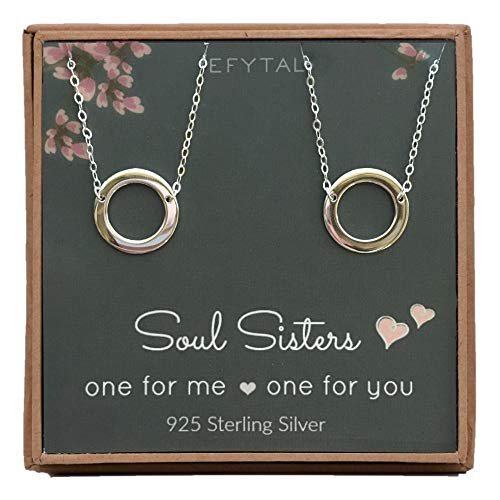 EFYTAL Best Friend Necklace Set, Sterling Silver Infinity Circle 2 Matching Friendship Necklaces for Soul Sisters, Unbiological Sisters or BFF Gift Ideas