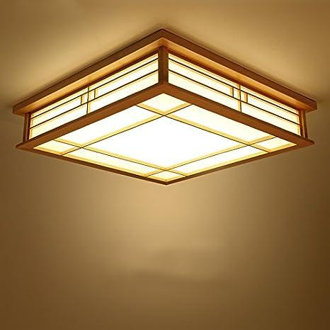 GQLB Lámpara de techo LED luz de madera maciza, lámparas de ...