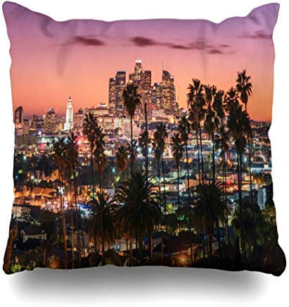 ACOVE Throw Pillows Covers Road Sunset Los Angeles Downtown Skyline Hollywood Cushion Case Pillowcase Home Sofa Couch Square Size 18x18 inch Pillowslips ()