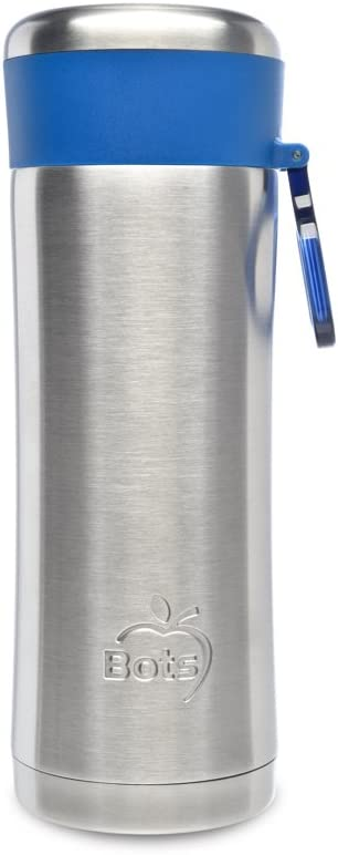 LunchBots Insulated Kids' Water Bottle (12oz) - Keeps Drinks Cold for 24 Hours - Lightweight Stainless Steel - Double Walled, Dishwasher Safe and Durable - Blue