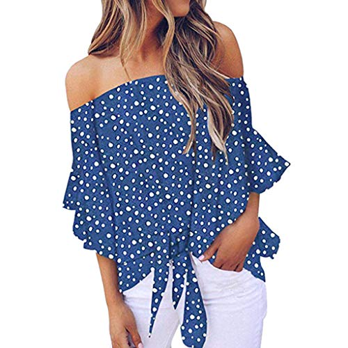 Womens Sexy Tops 2019, YEZIJIN Women's V Neck Dot Print Mesh Panel Blouse 3/4 Bell Sleeve Loose Top Shirt Blue]()