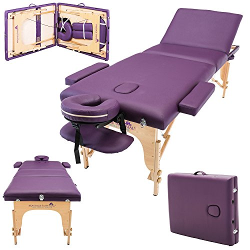 Massage Imperial Deluxe Lightweight Purple 3-Section Portable Massage Table Couch Bed Reiki