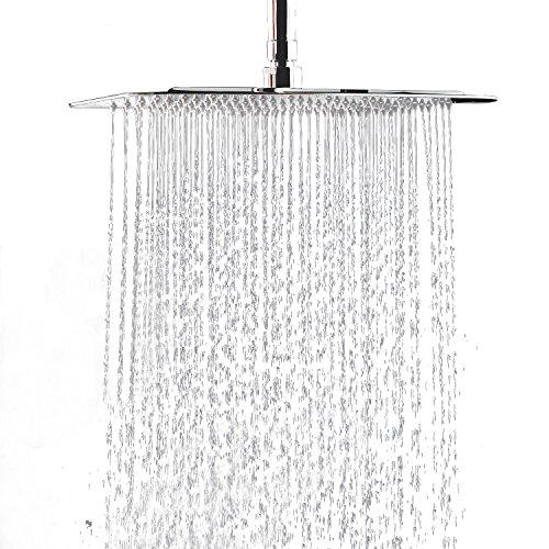 Delta 2 Spa - 12 Inch Large Square Rain Showerhead, Stainless Steel High Pressure Shower Head with Polish Chrome Finish, Ultra Thin Waterfall Full Body Coverage with Silicone Nozzle Easy to Clean and Install