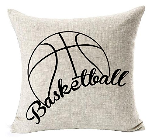 - Sports Series Vintage Black Sketch Basketball Design Cotton Linen Throw Pillow Case Personalized Cushion Cover NEW Home Office Decorative Square 18 X 18 Inches