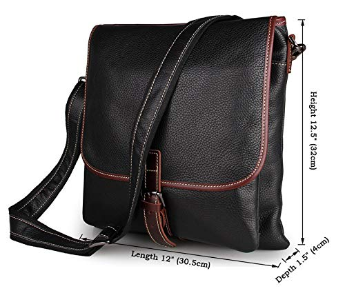 MUMUWU Men's Crossbody Leather Crossbody Bag Men's Leather Postman Bag Leather Shoulder Bag Shoulder Bag Men (Color : Black, Size : L)