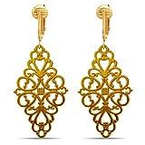 Dangle Clip On Earrings Gold, Clip Earrings Gold, Clip Gold Earrings, Gold Clip Earrings for Women (Victorian Filigree)