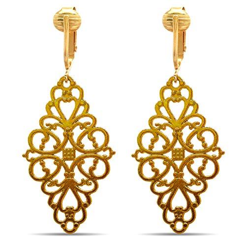 - Dangle Clip On Earrings Gold, Clip Earrings Gold, Clip Gold Earrings, Gold Clip Earrings for Women (Victorian Filigree)
