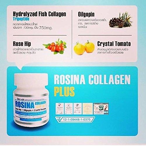 Rosina Collagen Plus Rose Hip + Oligopin + Crystal Tomato 100 % Collagen Tripeptide From Japan 30 Capsules : 2 Bottles