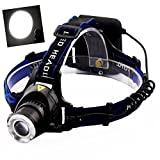 LED Head Torch, Meyoung Super Bright LED Headlight Headlamp XM-L T6 2000 Lumens for Running Hiking Camping Fishing [3 Brightness Level] with Adjustable Headband Zoom Waterproof Head Light Torch Lamp