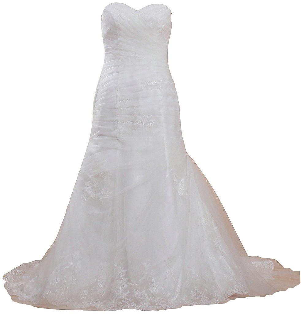 Ivory ANTS Women's Simple Strapless Mermaid Wedding Dresses Long