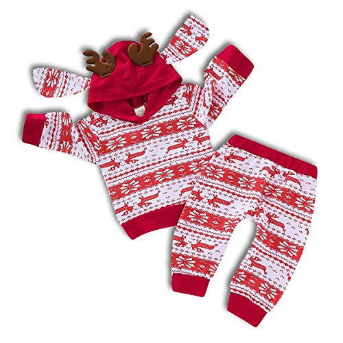 ZOELNIC Baby Girls Boys Christmas Pants Set Long Sleeve Hoodie + Snowflake Pants Outfit (Red, 12-18m) -