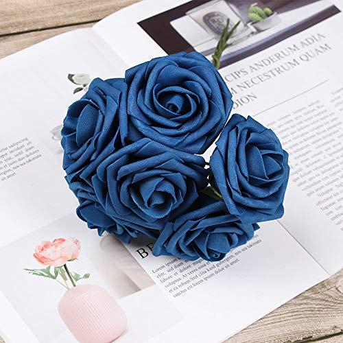 TANTIKC Artificial Roses Flowers,Wedding Bride Bouquet Flowers Home Decor (Navy Blue, 25pcs) from TANTIKC