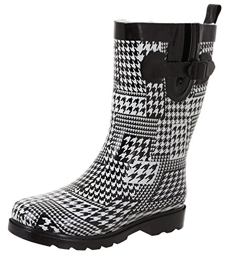 Capelli New York Ladies Shiny Houndstooth Printed Mid-Calf Rain Boot White Combo 9