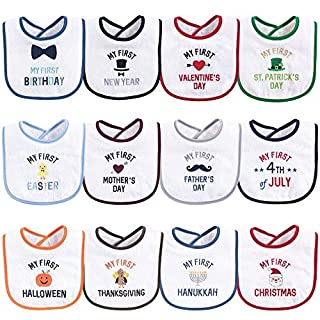 Hudson Baby Unisex Baby Cotton Terry Drooler Bibs with Fiber Filling, Boy Holiday, One Size