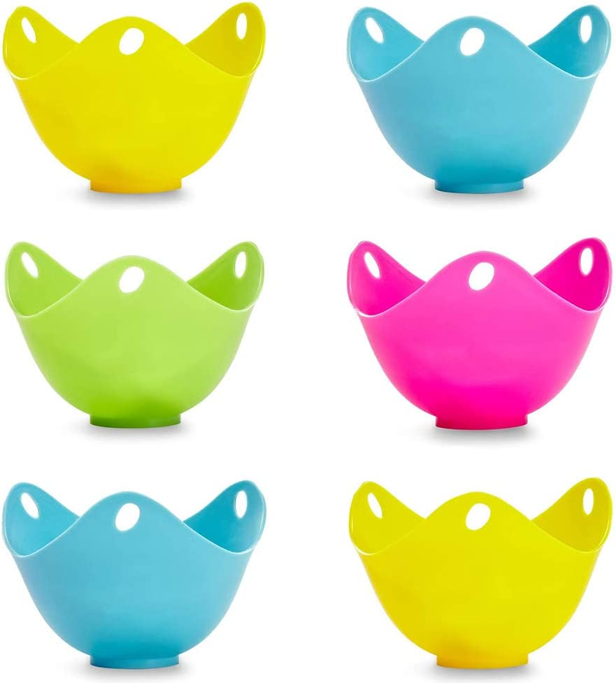 Plvoteir 6pcs Silicone Egg Poacher, Premium Non-Stick Poached Eggs Cups, Kitchen Cooking Cookware Tools Perfect Work with Egg Poacher Pan, Boiler Steamer, Microwave