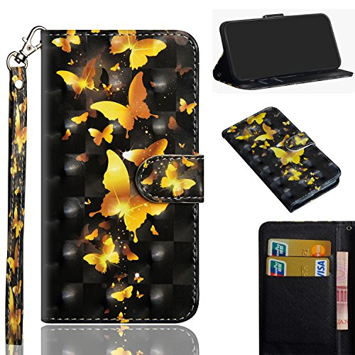 Case for LG Stylo 4, MerKuyom [Wrist Strap] [Kickstand] Premium Card Holder PU Leather Wallet Pouch Flip Cover Skin Case for LG Stylo 4, 6.2-inch (3D Black Yellow Butterfly)
